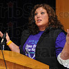 "Tribune-Star/Jim Avelis<br /> Victimized no more: Natalie Robbins, and ISU alum, recounts her years of abuse and how she broke free. She was one of the speakers at the ""Take Back the Night"" march Tuesday night"