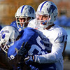 Tribune-Star/Jim Avelis<br /> Defenders: Ryan Roberts(15) stops teammate Larry Harris as the Sycamores prepare for their game with North Dakota State this Saturday.