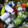 Food bank: Detail photo of barrel of canned goods for distribution by the Catholic Charities Food Bank.