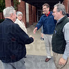 Tribune-Star/Jim Avelis<br /> Greetings: Carol and Jaques Deliere are greeted by Pat Ralston, right, and Terre Haute mayor Duke Bennett as they enter the First Baptist Church, their polling place, Tuesday afternoon.