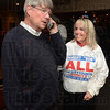 Tribune-Star/Jim Avelis<br /> Winner: Bob All takes a congratulatory call from supporters Jim and Sid Bell late Tuesday evening. With All is his wife Melodie.