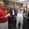 Tribune-Star/Joseph C. Garza<br /> Victory speech: Duke Bennett supporter Phil Briggs, center, celebrates as he and fellow supporters applaud Bennett as he thanked him for the support Tuesday evening at the Bennett headquarters on Wabash Avenue.