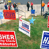 Polling place: Candidates and candidate supporters gather at the Brazil City Hall polling place Tuesday afternoon.