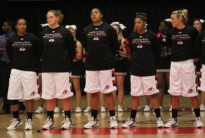 From left: number 5, Brianna Dillard, number 43, Breynna Winkler, number 31, Catrina Green, number 33, Jasmine Dale and number 11, Anna Dill