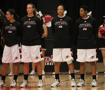 From Left: number 32, Eliana Scanlon, number 25, Tabby Koerner, number 14, Cierra Harris, and number 23, Jessica Heilig