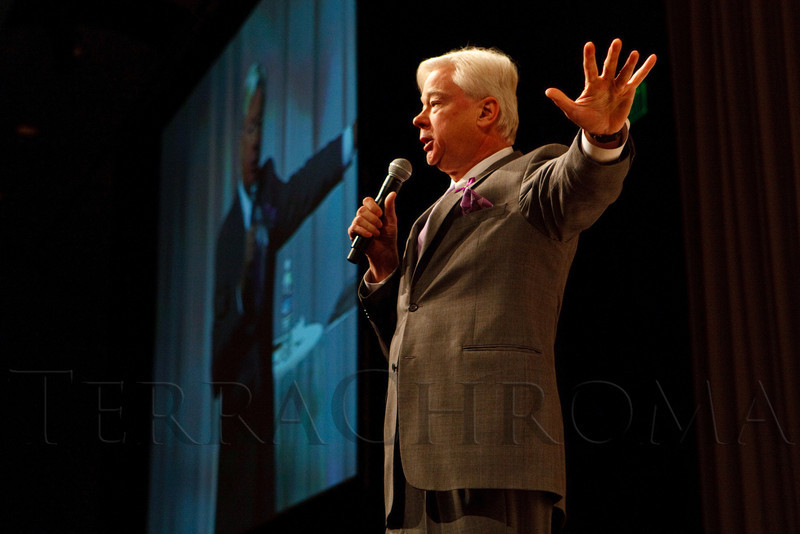 """(Denver, Colorado, Nov. 9, 2011)<br /> Barry Petersen tells the story about his wife, Jan, who has Alzheimer's disease.  The """"2011 Memories Lost & Found Luncheon,"""" benefiting the Alzheimer's Association of Colorado, at The Denver Center for the Performing Arts, Seawell Ballroom, in Denver, Colorado, on Wednesday, Nov. 9, 2011.<br /> STEVE PETERSON"""