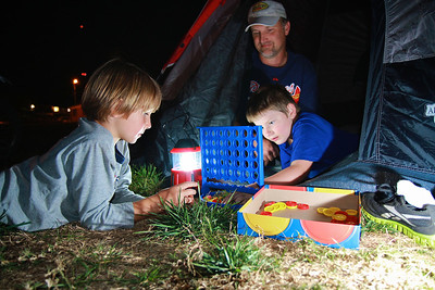 Children playing Connect Four during the Campout Carolina event on Gardner-Webb University's quad; October 7, 2011.