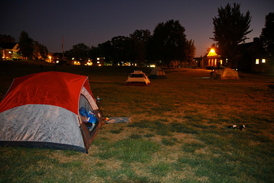 Tents on the quad of Gardner-Webb University during the Campout Carolina event; October 7, 2011.