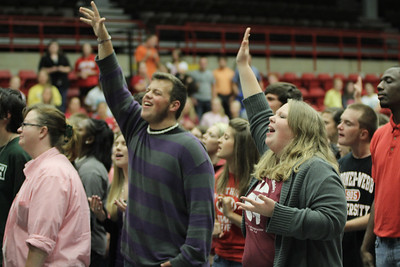 Students from Gardner-Webb and local middle and high schools came together on Wednesday night for Fields of Faith. It was an opportunity for sharing testimonies, spoken word, speaking, worshipping, prayer, and fellowship.