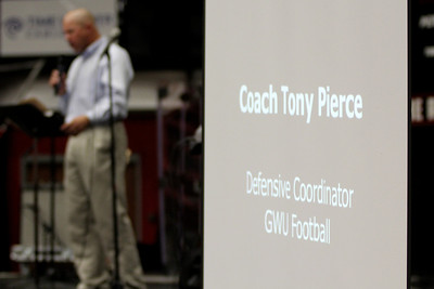 Coach Tony Pierce, Defensive Coordinator for GWU Football, spoke at Fields of Faith.