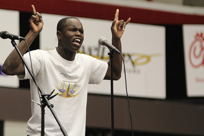 Darelle Dove performed original spoken word at Fields of Faith.