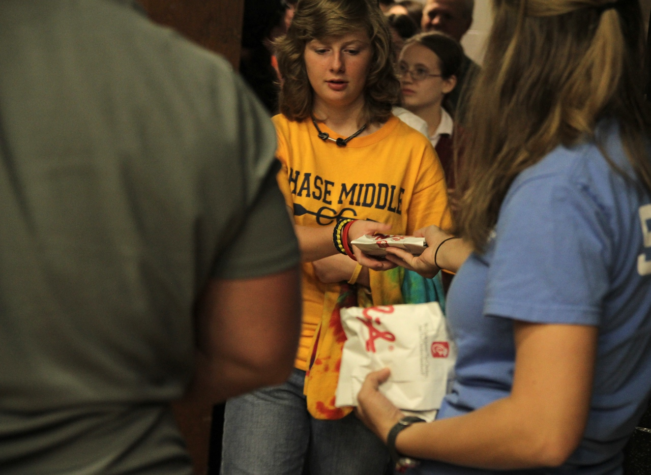 The first 100 people to arrive at Fields of Faith received a free Chick-fil-A sandwich.