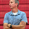 Coach: Marshall volleyball coach Mike Farrell watches his players during Wednesday's practice.
