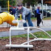 Fitness trail: Davis Park student council memberAvery Finn exercises at one of the fitness trail stations after its dedication Thursday afternoon.