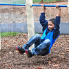 Trail fitness: Davis Park student Antonio Young exercises at one of the stations on the newly installed Fitness Trail at the school.