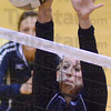 Tribune-Star/Jim Avelis<br /> Stopper: Terre Haute North's Brianna Burgess blocks a Martinsville spike in the Patriot's sectional match.