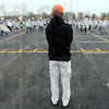 Tribune-Star/Jim Avelis<br /> Observer: Bob Medworth watches his band practice their steps.