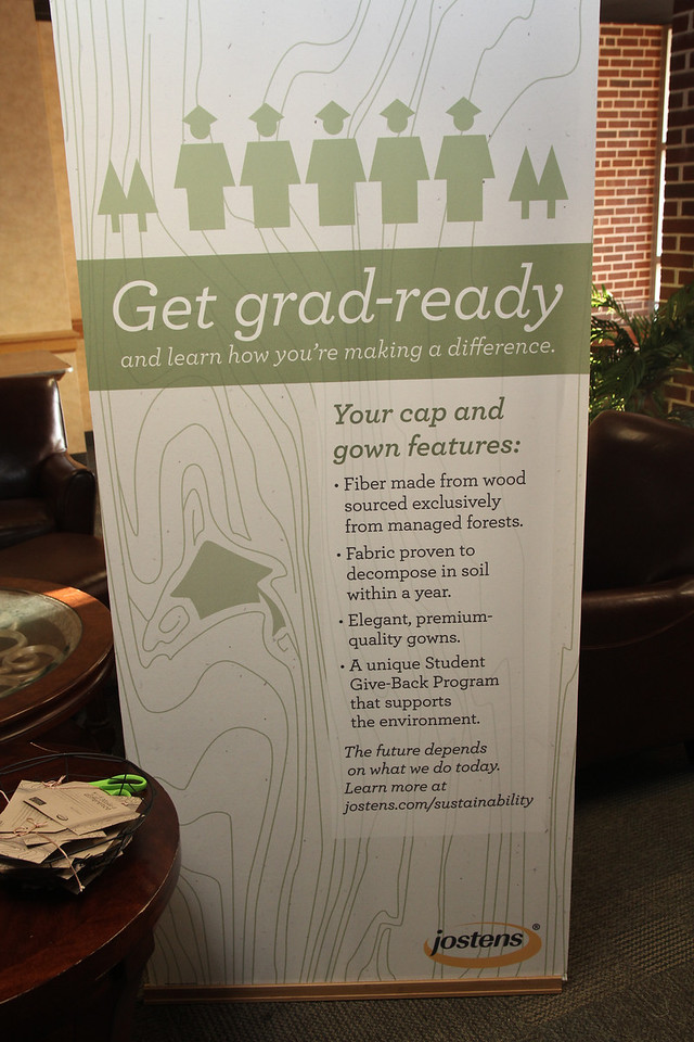 Cap and gowns made out of biodegradable material.