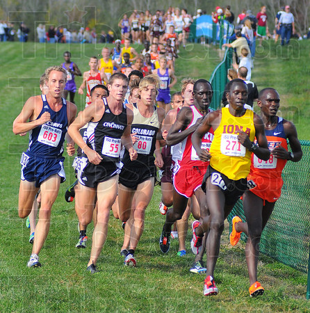 Tribune-Star/Jim Avelis<br /> All the way: Leonard Korir(271) of Iona College, leads the mens runners through a turn in the Lavern Gibson Championship Cross Country Course Saturday as they compete in the Prenationals.
