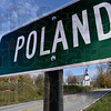 Poland: Poland sign greets motorists eastbound on Highway 42 in Clay County.