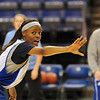 Everyone contributes: Indiana State freshman Travecia Franklin sets up for a defensive drill during team practice Friday at Hulman Center.