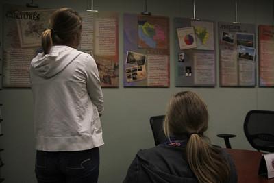 Students admiring the exhibition of the Prijedor