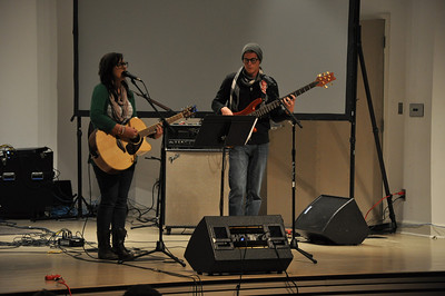GWU students Cassidy Owens and Brett Parlee perform at the Battle of the Bands in Blanton.
