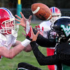 Not: West Vigo's #4, Chase Silcock can't hang onto the ball after a Owen Valley defender makes contact Friday evening during first-half play.