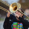 Tribune-Star/Jim Avelis<br /> Playing on: Terre Haute North sophomore Celia Colter keeps and eye on fellow band members as they practice Thursday evening.