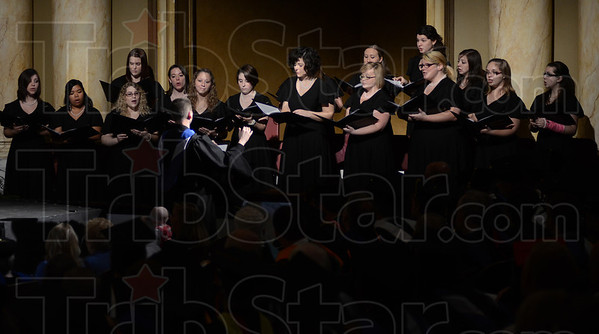 Tribune-Star/Jim Avelis<br /> Glory: The Saint Mary-of-the-Woods Madrigals sang Non Nobis, Domine at the inauguration of Dottie King as the 16th president of the women's liberal arts college.