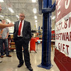 Tribune-Star/Jim Avelis<br /> Practical gift: Jon Nibert, a Rose-Hulman grad student in Engineering Management, talks with Bill Boswell of Siemens. Siemens donated nearly $28M in software to the eastside engineering school, part of which will help develop the next generation of Ecocar.