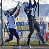 Tribune-Star/Jim Avelis<br /> Game changer: Indiana State University defensive back Larry King(44) intercepts a Josh Hudson pass in front of intended reciever Myles Daughtry to stop a Western Illinois drive.