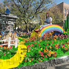 Somewhere over the rainbow: A float in the ISU Homecoming Parade sports a rainbow andl flowers.