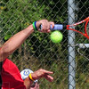 forehand: South's number one singles player Austin Foster returns a serve during sectioal match play Saturday.