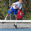 Serve: Terre Haute North doubles player Ethan Claretto powers a serve during sectional action Friday afternoon.