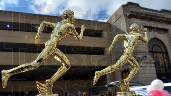 Race trophies: Detail photo of Susan G. Komen race trophies.