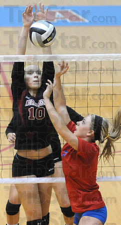 Stufed: Northview's #10 Mikayla Rowan blocks a shot attempt Saturday morning during Sectional play.