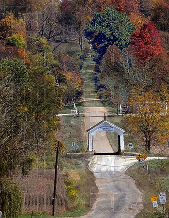 Distance: Sanitorium Bridge view in Parke County taken from a long distance. .