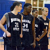 Tribune-Star/Jim Avelis<br /> Team: R.J. Mahurin, Myles Walker, Dwayne Lathan and Jordan Printy listen to coach Greg Lansing during practice Wednesday afternoon.