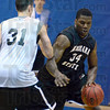 Tribune-Star/Jim Avelis<br /> Gym time: Myles Walker dribbles around R.J. Mahurin in practice Wednesday afternoon.