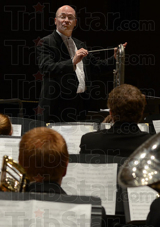 """Tribune-Star/Jim Avelis<br /> Direct approach: Douglas Keiser directs the Indiana State University Symphonic Band in """"Celtic Hymns and Dances"""" by Eric Ewazen. The occasion was the opening concert of the 45th Contemporary Music Festival."""