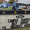 Tribune-Star/Jim Avelis<br /> Fundraiser: Alpha Tau Omega is holding a campout fundraiser for the Terre Haute Children's Museum through Friday afternoon. The encampment is located just south of the Cunnuingham Library on the Indiana State University campus.