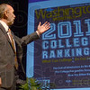 Address: Indiana State University President Dan Bradley talks about the school ranking during his address Wednesday.