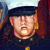 Portrait: A portrait of Marine Lance Corporal Thomas J. Soeurt Jr. hangs on the wall of the home of his mother Michelle Monday afternoon. The portrait was painted by his grandmother, Patricia Hunt.