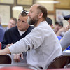 Tribune-Star/Joseph C. Garza<br /> Labor's full attention: Steve Price, a member of Sheet Metal Workers Local 20, listens as a candidate presents his platform during the Wabash Valley Central Labor Council's candidate forum Monday evening at the council's Labor Temple.