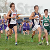 One two three: South's Jackson Bertoli (L), North's Tyeson Mundy (center) and West Vigo's Andrew Kump (R) run together at the start of the boy's sectional cross country meet Tuesday evening.