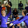 Tribune-Star/Jim Avelis<br /> All set: Halli Brewer(6) sets for her teammate Emmie Kittle, right, in the Eels match with the Indiana School for the Deaf Tuesday night.