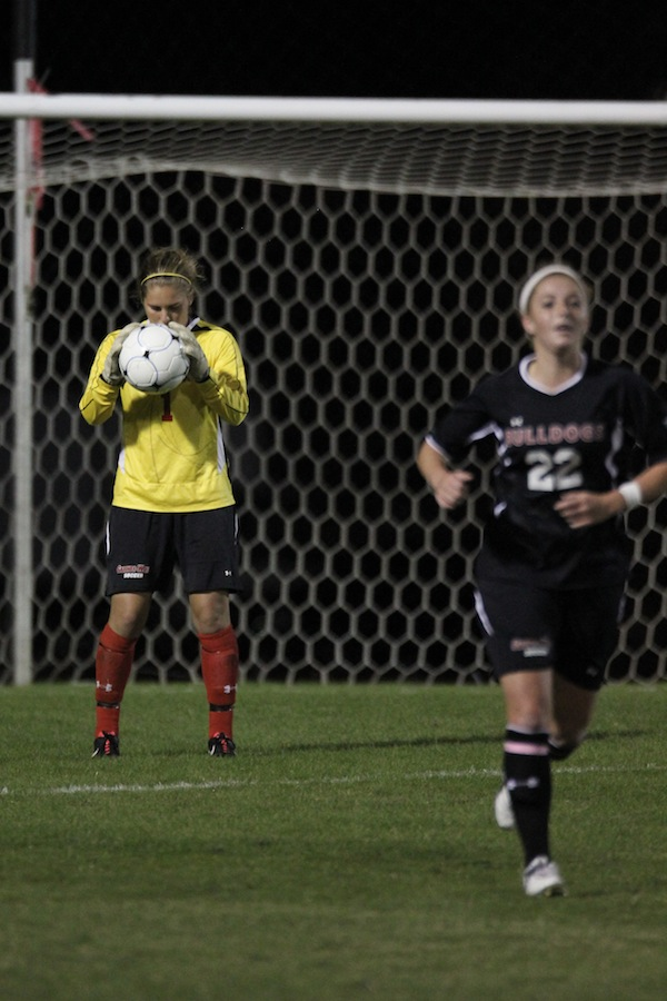 Goalie, Erika Lenns, takes time to focus before punting the ball up the field.
