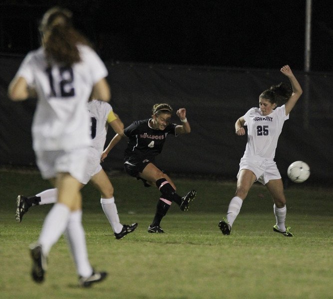 Megan Reimer, 4, kicks the ball towards the goal.