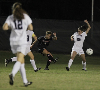 Megan Reimer, 4, kicks the ball towards the goal.